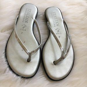 Silver tone flip flops